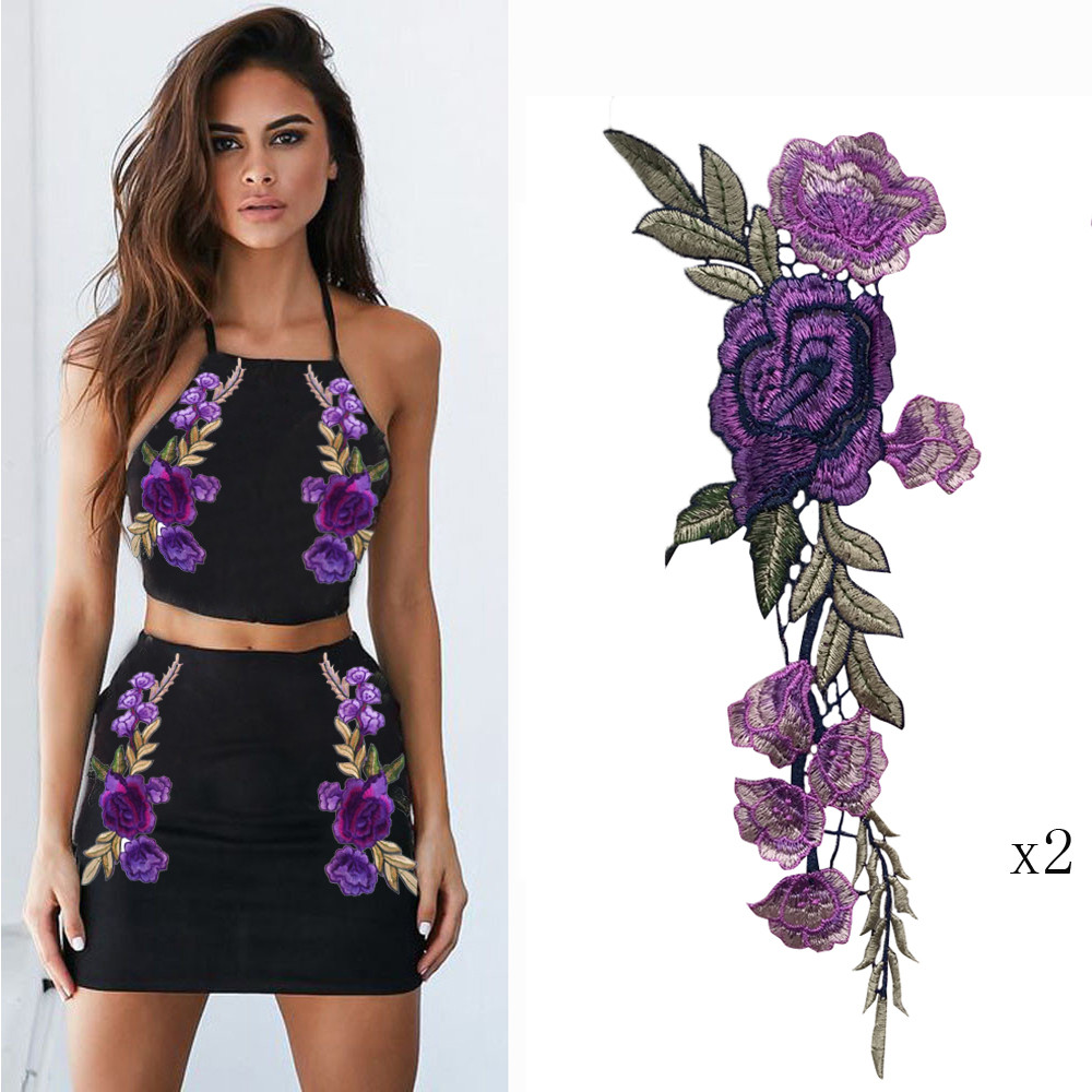 iLH 2PCS DIY Embroidered Roses Collar Sew Patch Sticker Applique Badge