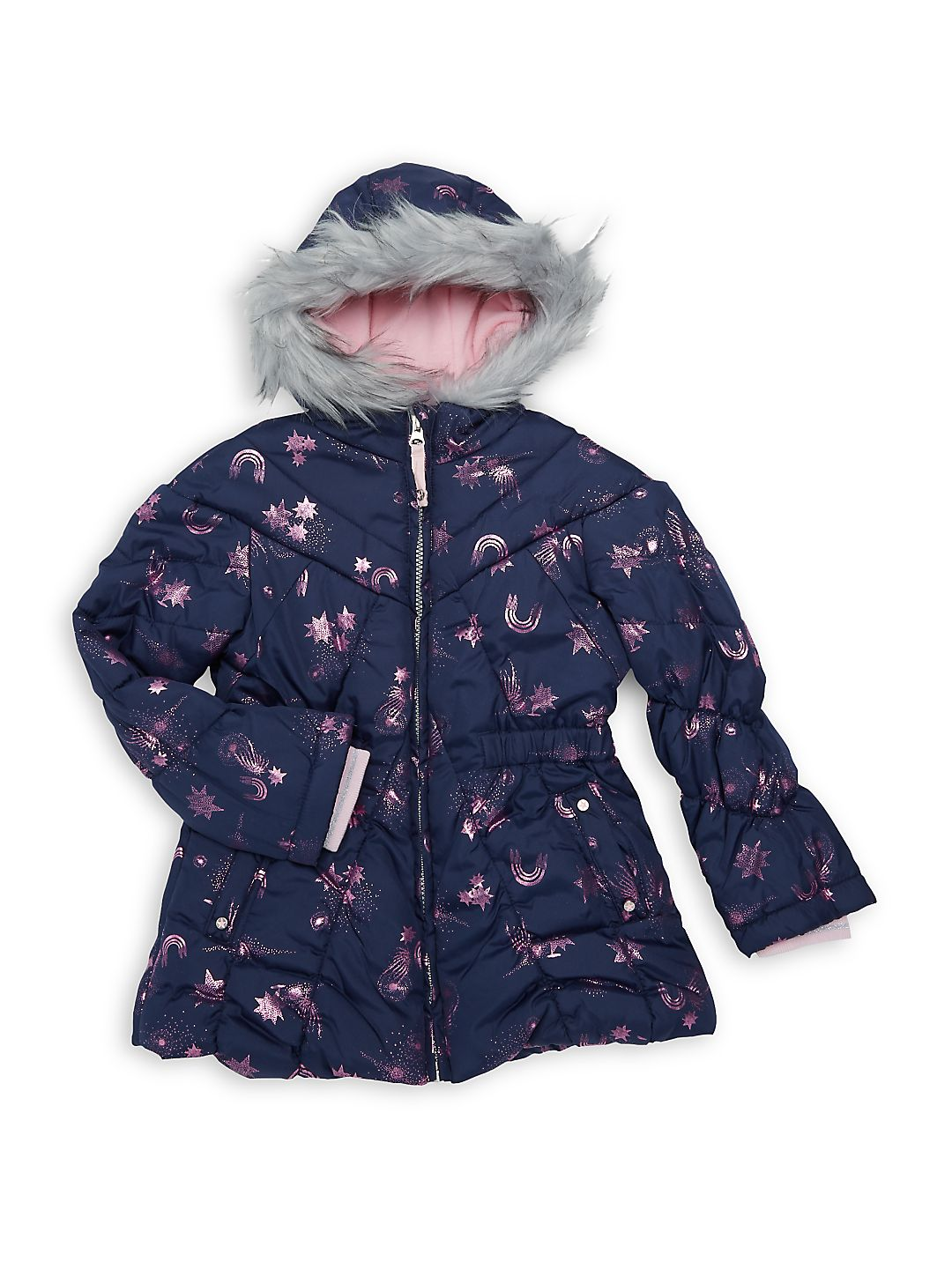 Little Girl's Metallic Sky Faux Fur Trim Jacket