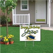 """Happy Birthday Jesus"" (white) Christmas Lawn Display - Yard Sign Decoration"