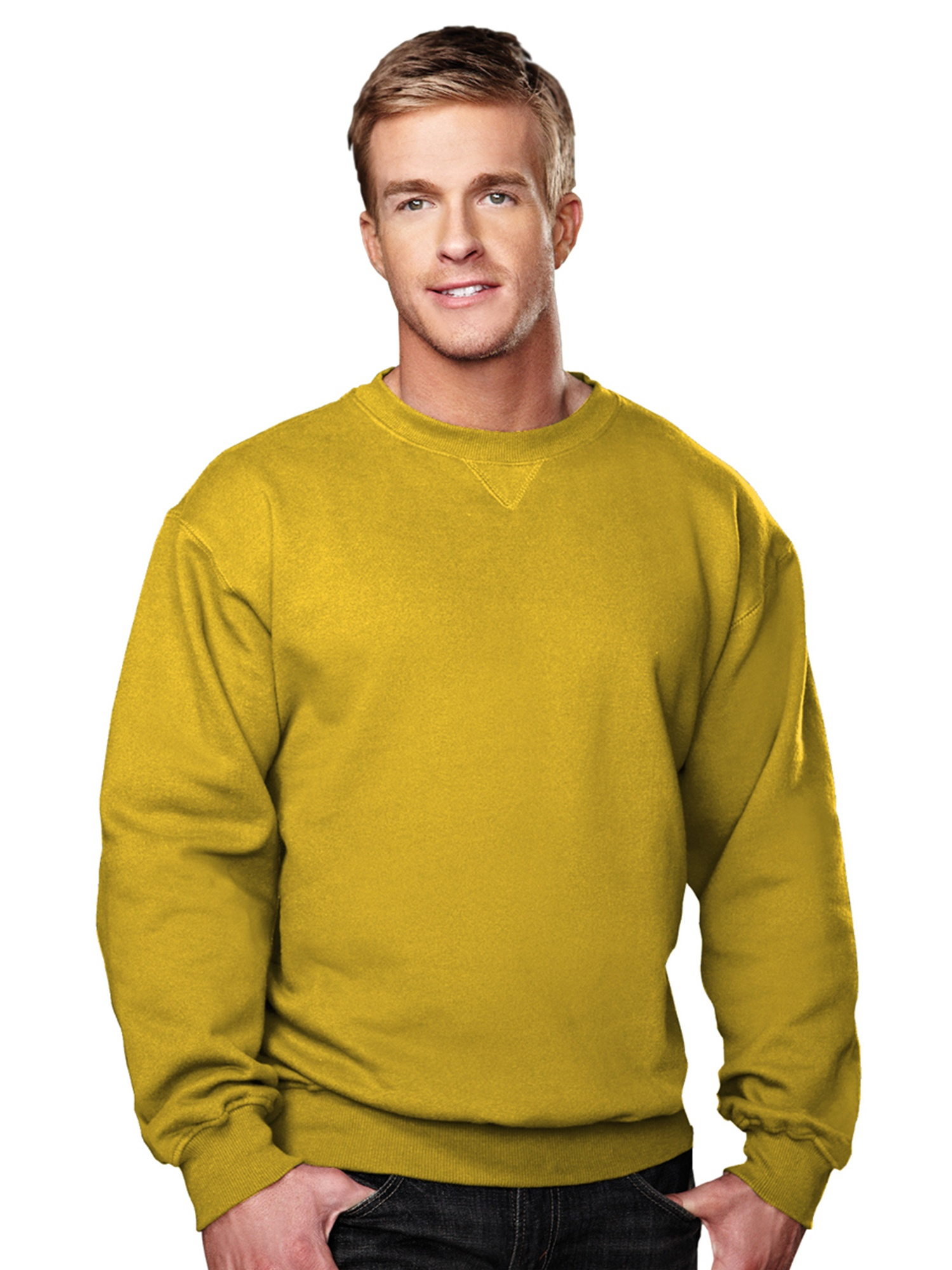 Tri-Mountain Men's Big And Tall V Patch Crewneck Sweatshirt