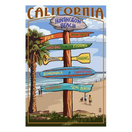 Huntington Beach, California - Destination Sign Laminated Print Wall Art By  Lantern Press