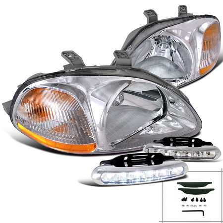 Spec-D Tuning For 1996-1998 Honda Civic 2 3 4 Door, Chrome Housing Headlights, Led Daytime Running Lights (Left+Right) 1996 1997 1998