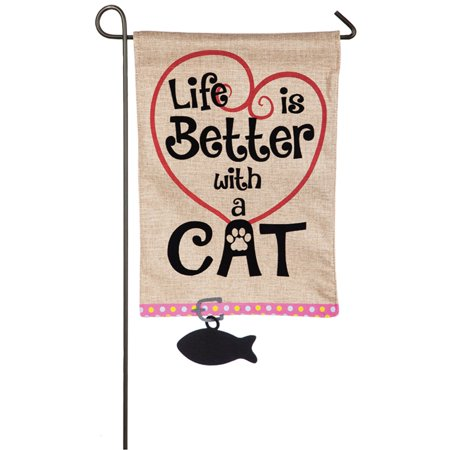 Evergreen Flag Life is Better with a Cat Garden Flag