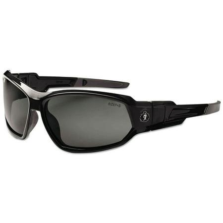 Smoke Goggles - Ergodyne Skullerz Loki Safety Sunglasses/ Goggles- Black Fame, Smoke Lens