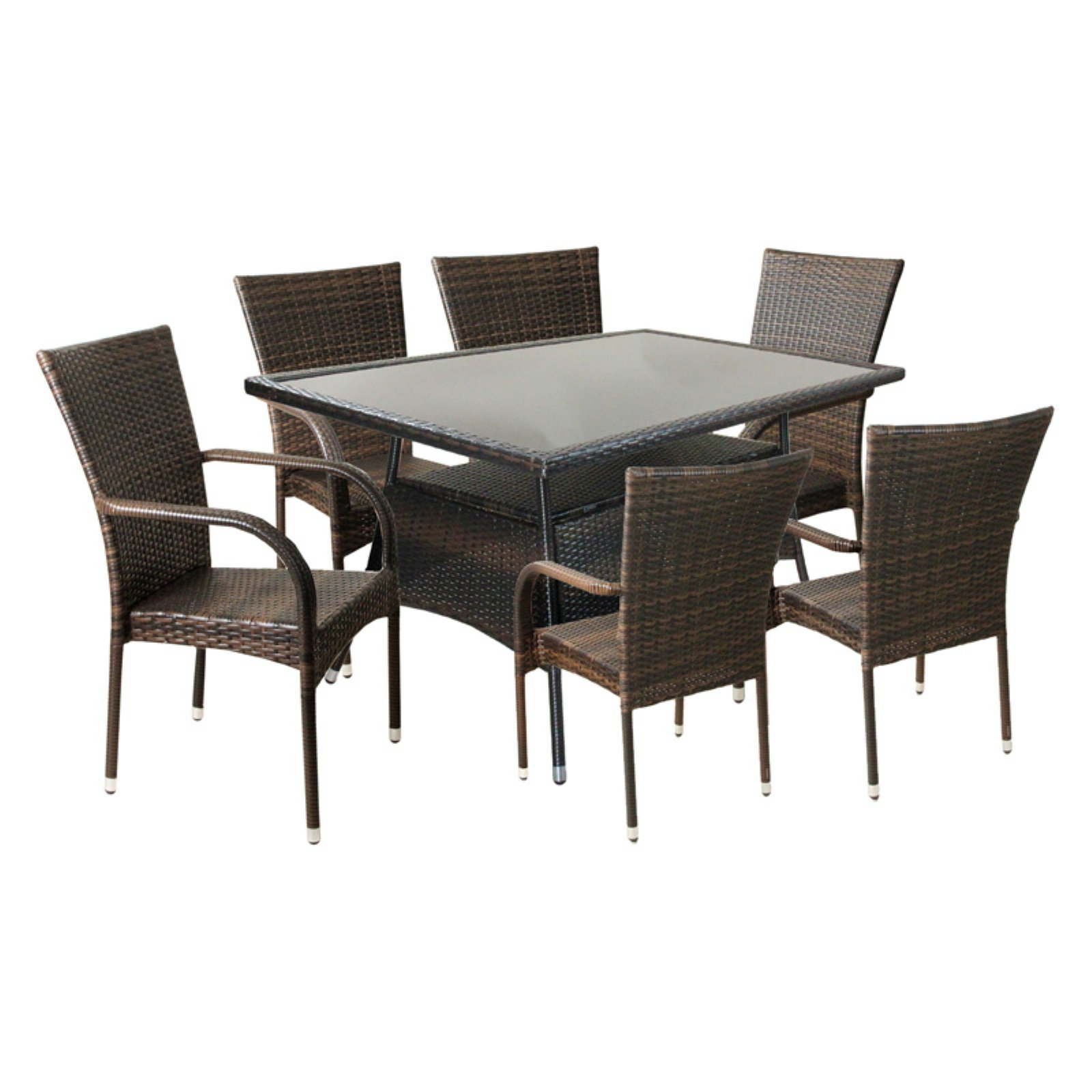 CC Outdoor Living 7 Piece Outdoor Woven Resin Rattan and Steel Rectangle Patio Dining Set