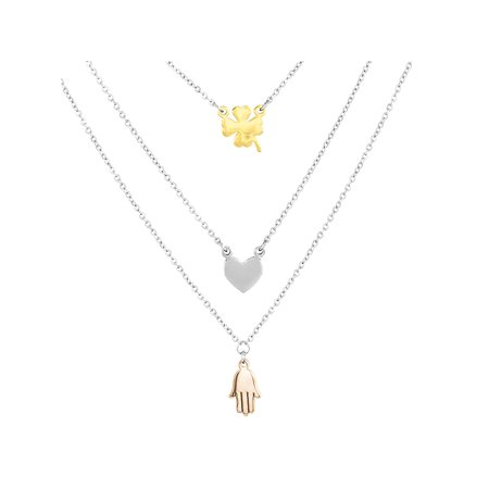 - Stainless Steel Clover, Heart and Hamsa Layered Charm Necklace