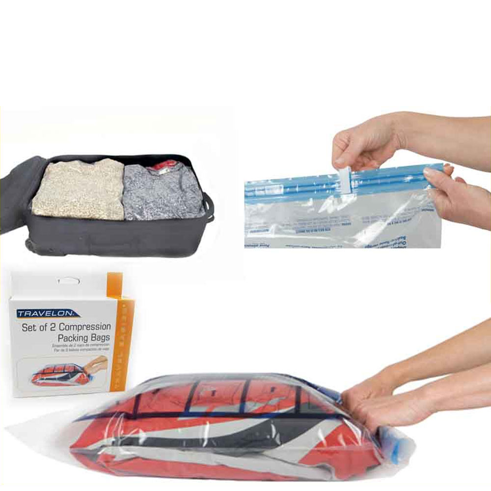 Travelon E Saving Travel Compression Bags Ng Roll Up Storage Set Of 2