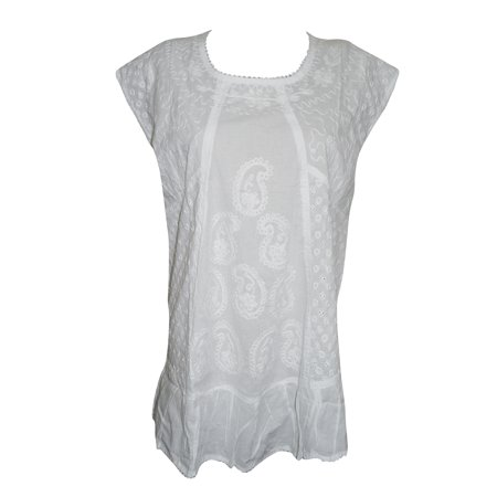 7e129f07d38 Mogul Interior - Mogul Women's Ethnic Indian Tunic White Embroidered Cap  Sleeves Kurti Top Blouse Shirt XL - Walmart.com