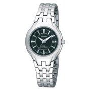 Womens Dress Sport Stainless Watch - Silver Bracelet - Black Dial - PXT923