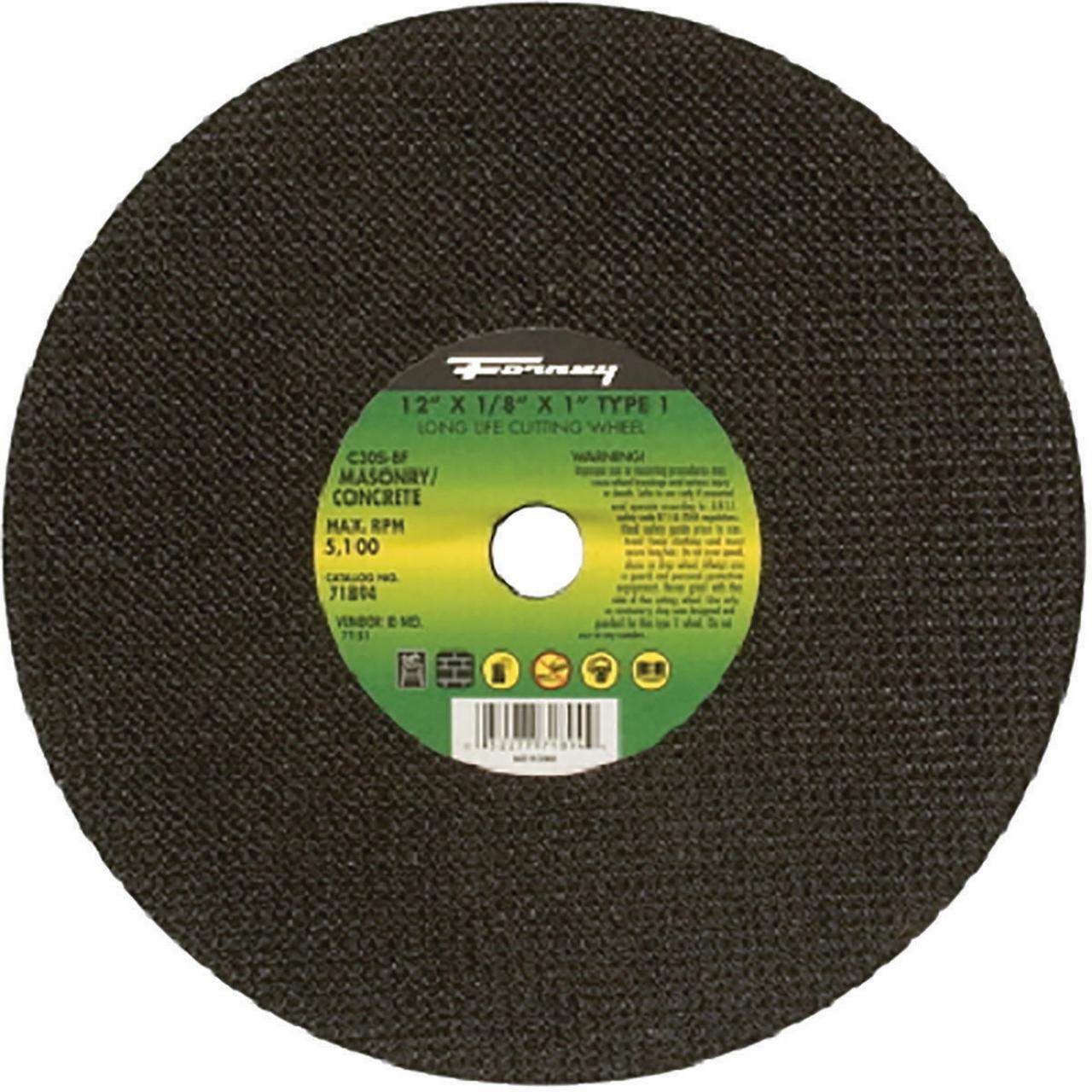 Forney Industries 71894 Type 1 Circular Shape Flat Cut-Off Wheel, 12 in Dia x 1/8 in T, 20 Grit, 1 i