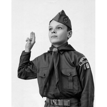 Close-up of a boy in a scout uniform saluting Canvas Art - (24 x 36)