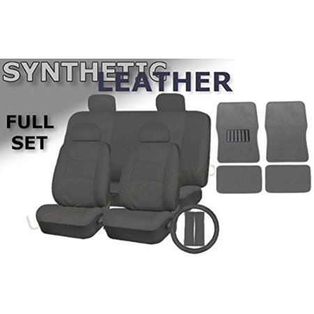 Deluxe Leatherette Full Set 17 Piece Car Seat Covers Double Stitched - Front Rear Steering Wheel Set - 4 Piece Floor Mats (Grey Leatherette) Double Cab 4 Piece