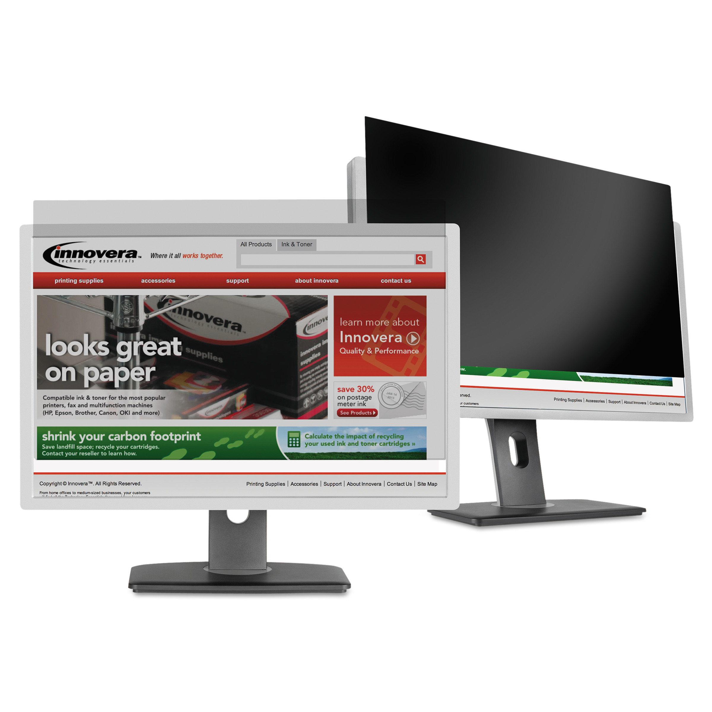 """Innovera Blackout Privacy Filter for 18.5"""" Widescreen LCD Monitor, 16:9 Aspect Ratio"""