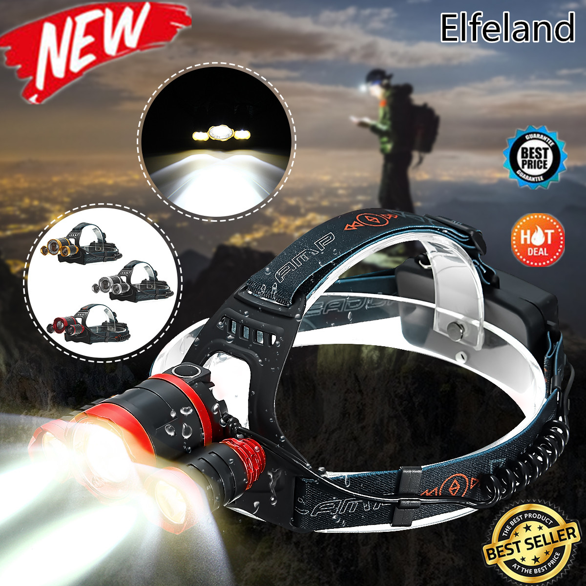6000Lumens 3 x T6 Mechanical Telescopic Zoomable Focus Headlight Headlamp Head Lantern Tactical Lamp 4 Modes Waterproof For Camping Hiking