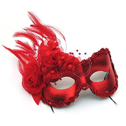 Annette Red Feather and Flower Women's Masquerade Mask - Red Feather Mask