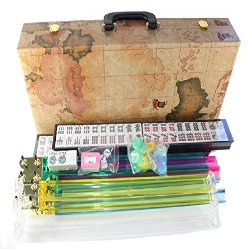 "American Mahjong Set in World Map Case with 18"" Set of 4 Pushers, 166 Tiles(Mah Jong mah Jongg Mahjongg)"