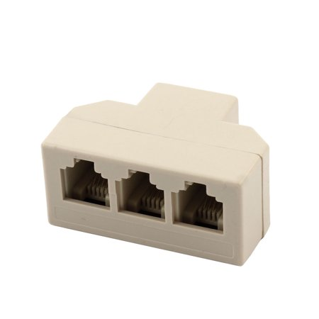 Unique Bargains Plastic RJ11 1 to 3 Female Telephone Adapter Ethernet Connector Splitter