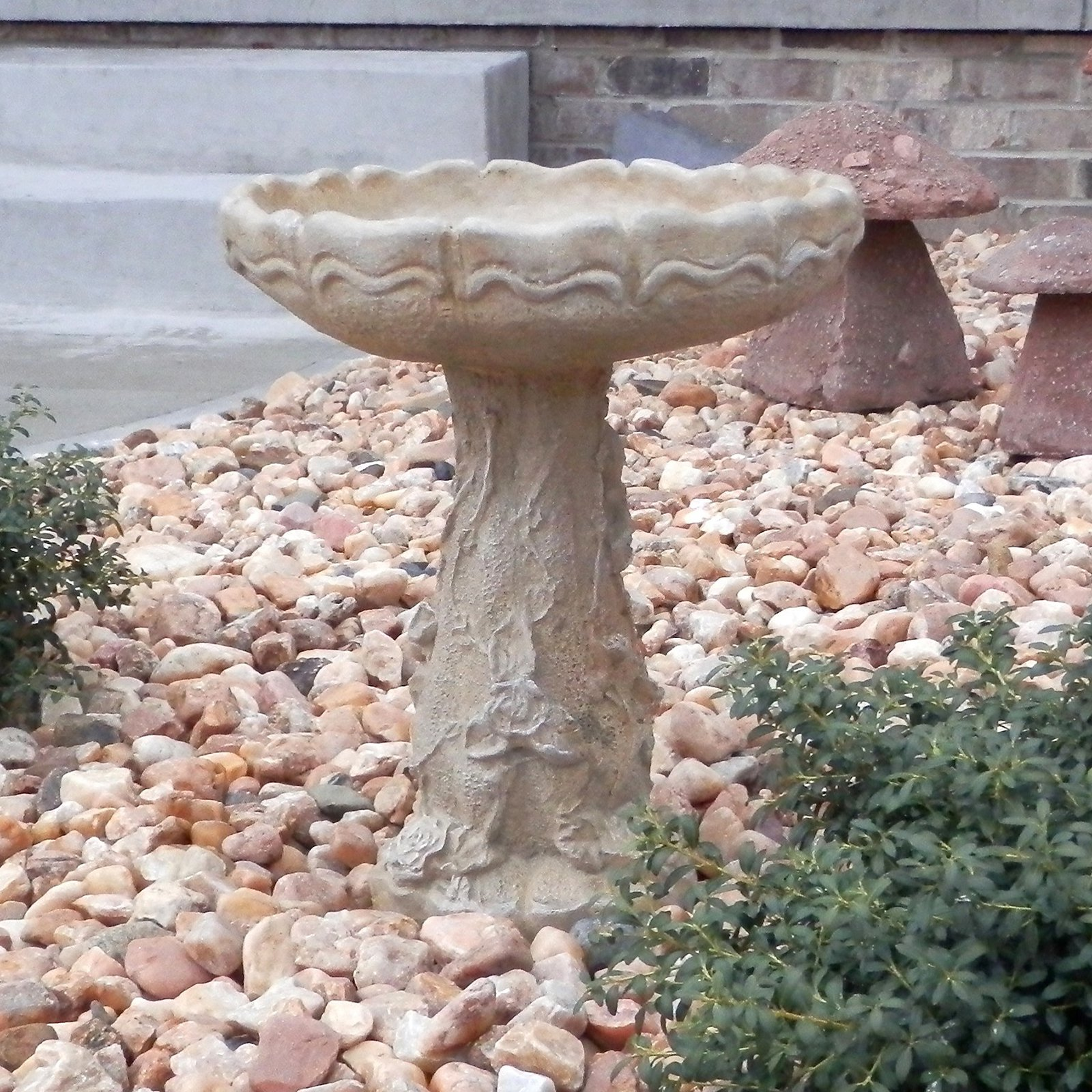 Athena Garden Cast Stone Rose Bird Bath