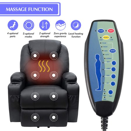 Walnew Recliner Chair Power Lift Massage Heating Function Recliner Single Living Room Sofa Seat with Huge Headrest and Thick Armrest , Black