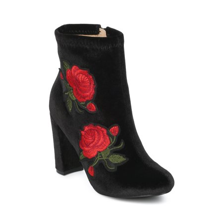 Women Velvet Embroidered Rose Patch Chunky Heel Bootie - HG16 by Liliana Collection