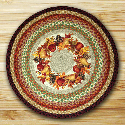Earth Rugs Autumn Wreath Round Multi Patch Area Rug