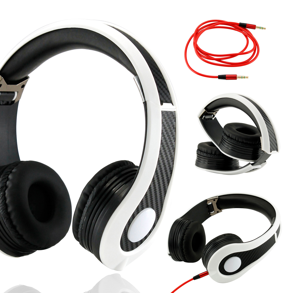 Carbon Fiber Print Adjustable Circumaural Over-Ear Earphone Stero Headphone 3.5mm for iPod MP3 MP4 PC iPhone Music