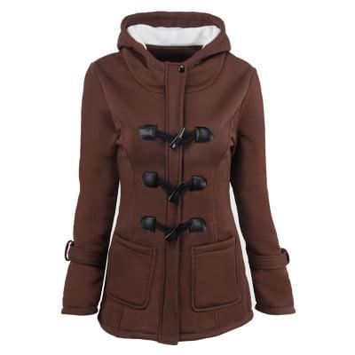 Women Fashion Claw Clasp Wool Blended Classic Pea Coat Zipper Jacket Plus Size (Wool Duffle Coat Women)