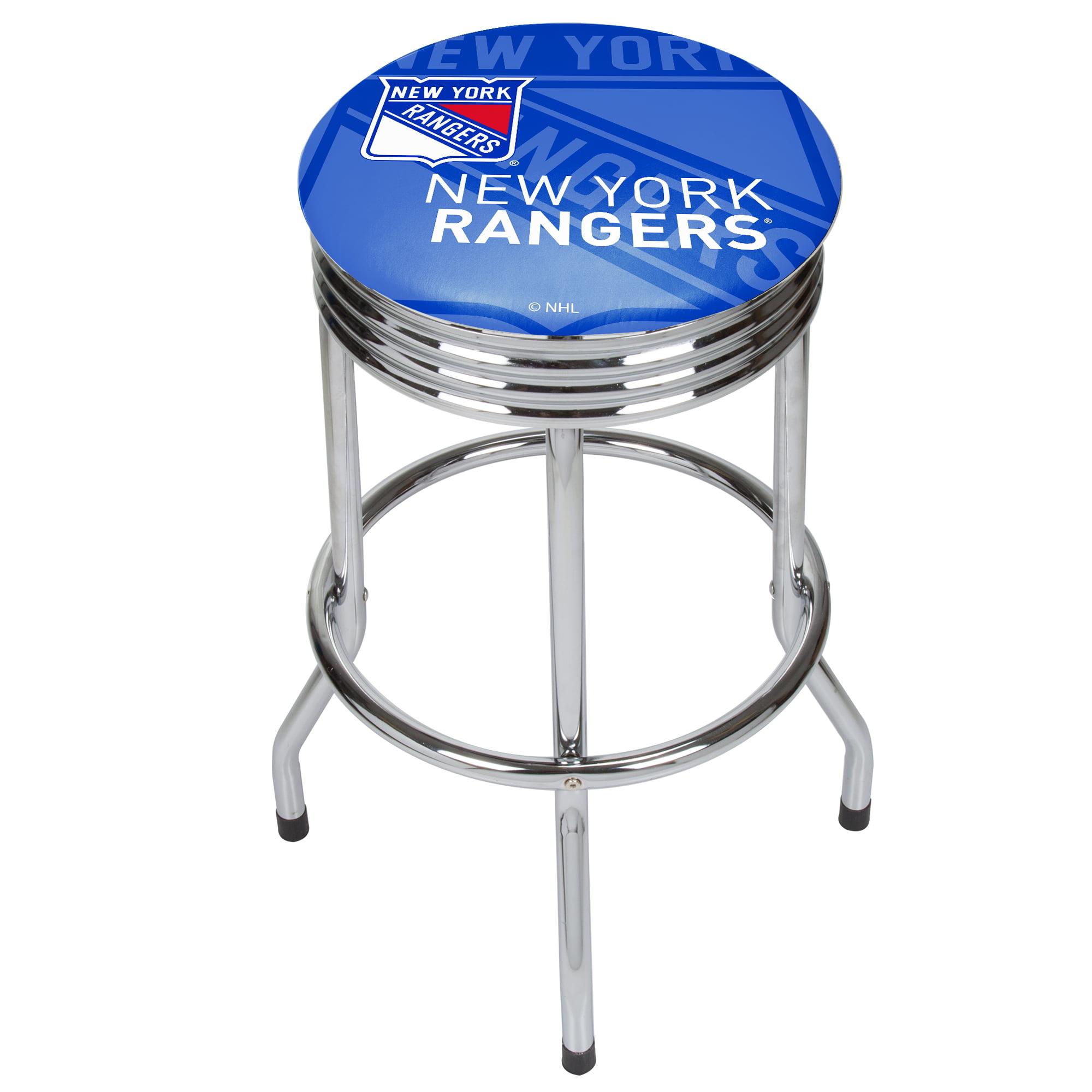 NHL Chrome Ribbed Bar Stool - New York Rangers