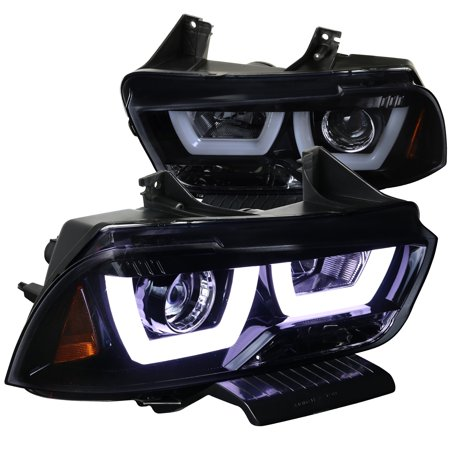 - Spec-D Tuning For 2011-2014 Dodge Charger Glossy Black Led Dual Halo Projector Headlights 2011 2012 2013 2014 (Left+Right)
