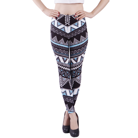 Halloween Leggings Womens (HDE Women's Ultra Soft Leggings Regular Size Fashion Design Stretch Pants (Aztec Tribal Turquoise,)