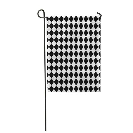 KDAGR Diamond Black and White Hypnotic Pattern Checkerboard Checkered Floor Garden Flag Decorative Flag House Banner 12x18 inch - Black And White Checkerboard Floor