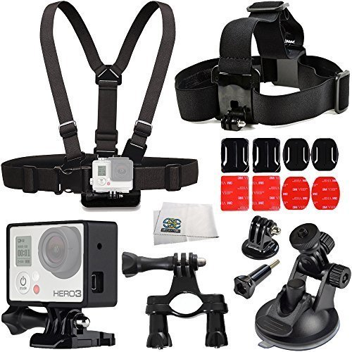 Aviation Accessory Kit Includes Handlebar Seatpost Mount + Chest Strap + Head Strap + 360 Car Suction Cup Mount + 2X Curved & Flat Adheive Mounts + Frame Mount Housing + Microfiber Cleaning Cloth