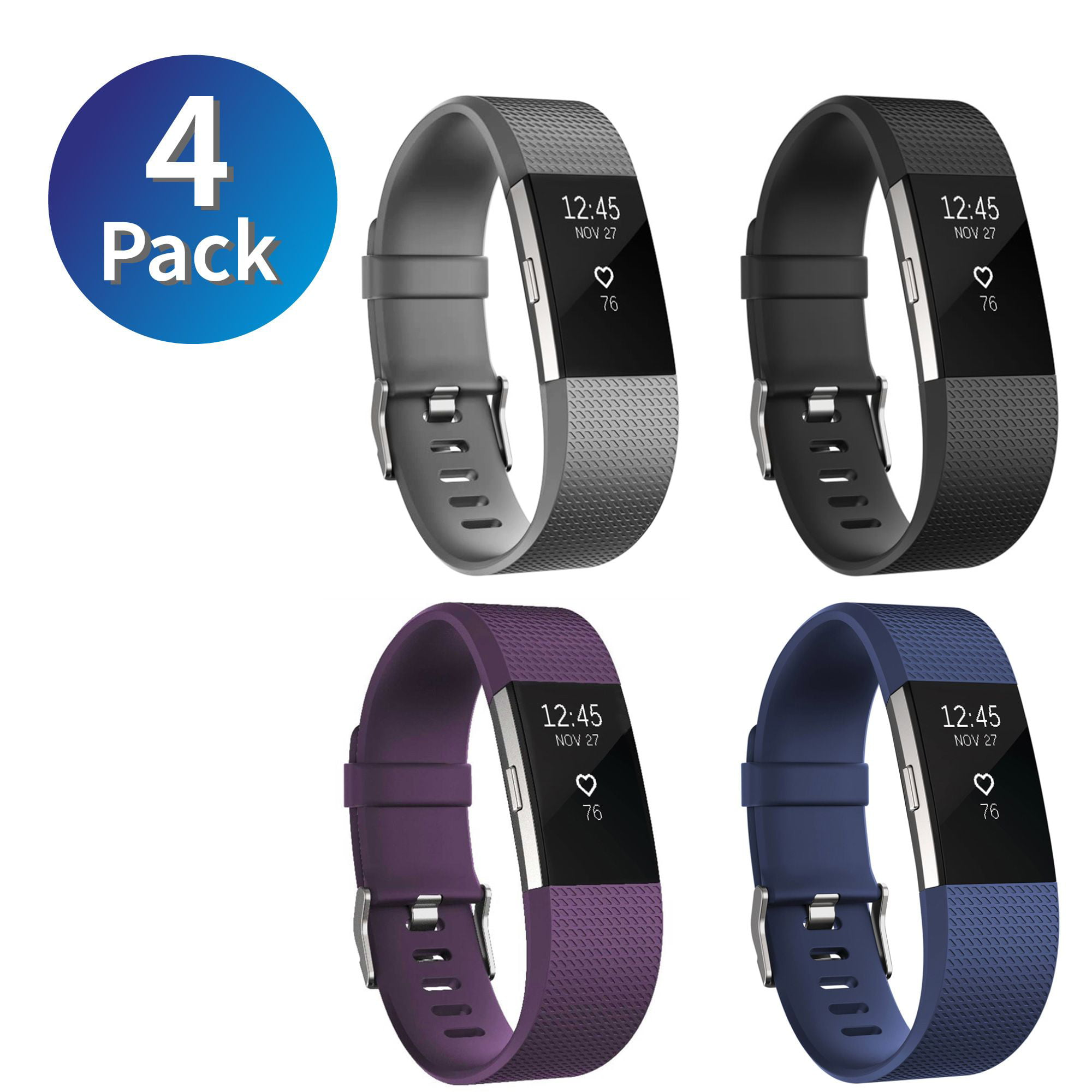 Zodaca 4-pack (Black & Purple & Gray & Dark Blue) fitbit charge 2  Replacement Bands Accessory Soft Silicone Rubber Adjustable Wristband Strap  Band