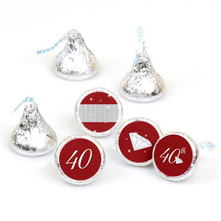 40th Anniversary - 108 Round Candy Labels Anniversary Party Favors - Fits Hershey's Kisses - 40th Anniversary Party Ideas