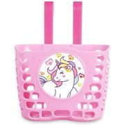 Kid's Bike Basket, Pink Cute Lovely Unicorn Pattern Bicycle Front Handlebar Basket for Kid Girls