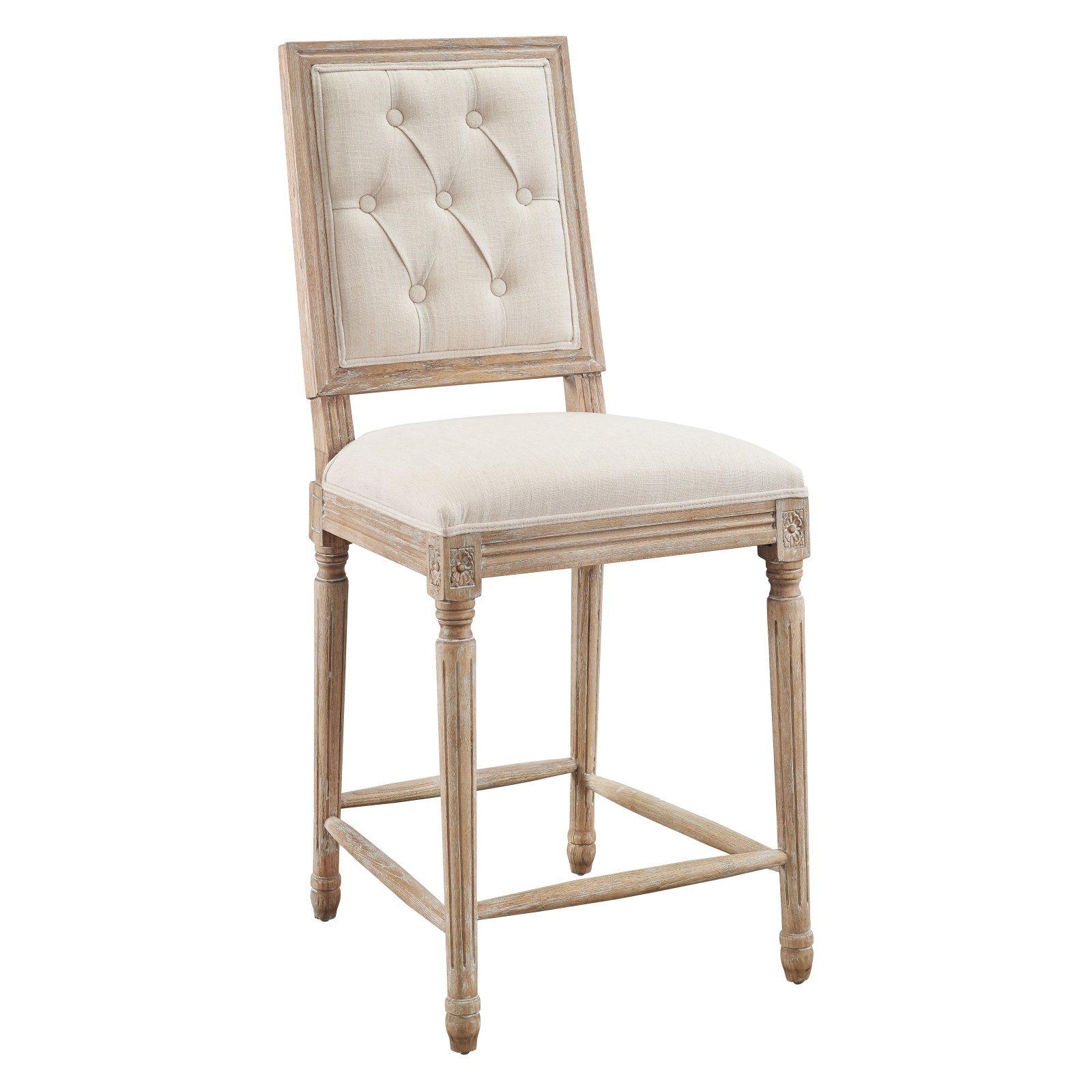 Linon Avalon Tufted Counter Stool Brown 25 Inch Seat Height