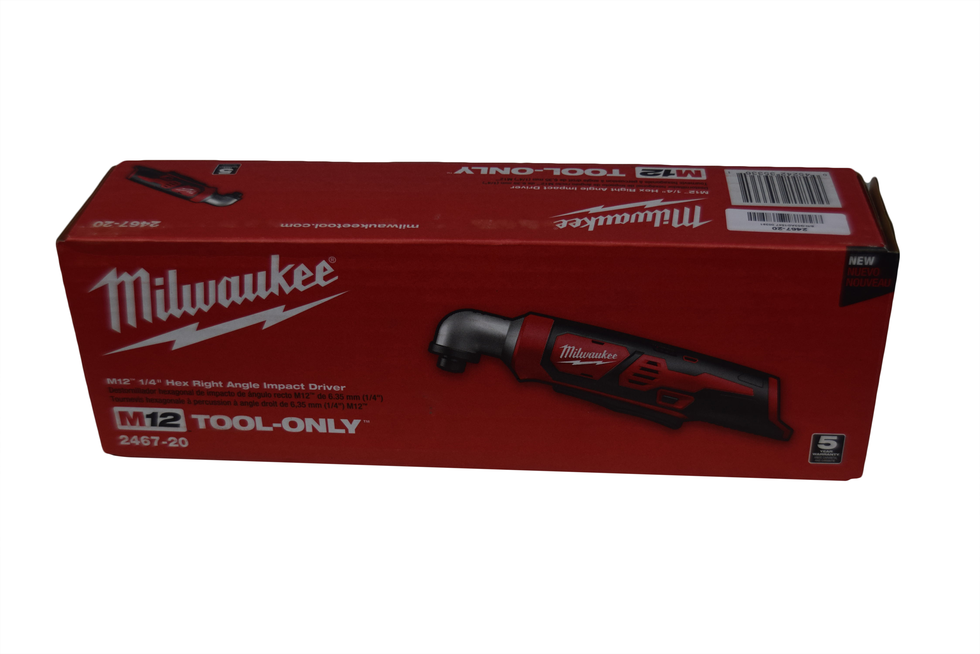 """Milwaukee 2467-20 M12 12V 1 4"""" Hex Right Angle Impact Driver Bare Tool Cordless by Milwaukee"""