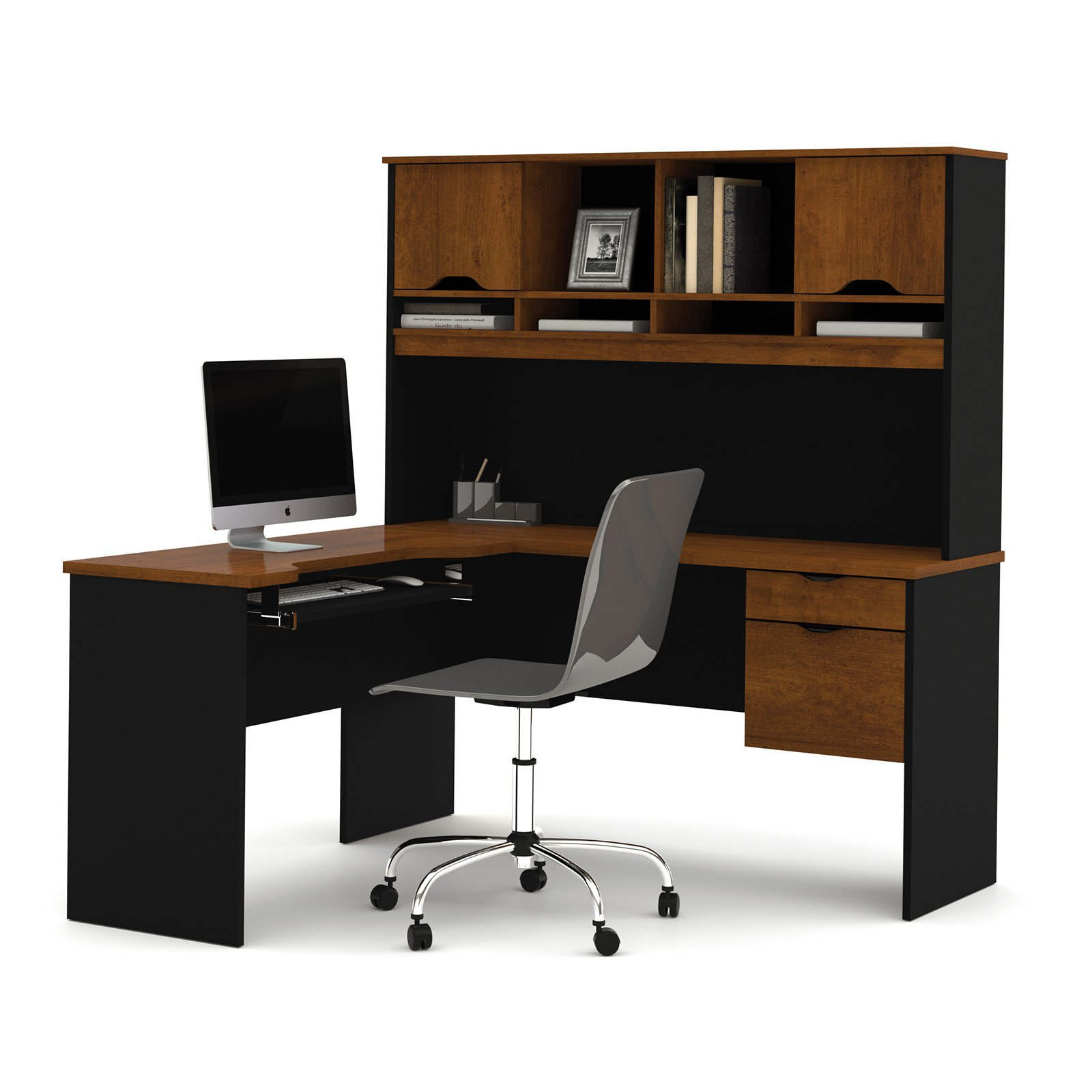 Innova L-shaped desk with accessories in Tuscany Brown & Black
