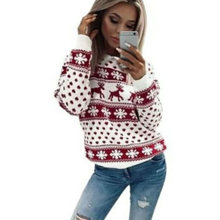 New Chic Women Christmas Snowflake Reindeer Jumper Oversized Knit Sweater Top ()