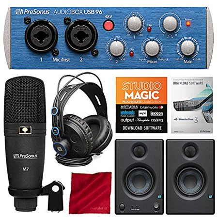 PreSonus AudioBox 96 Studio Plus Recording Kit with Studio One Software and PreSonus Eris E3.5 Multimedia Reference Monitors (Pair) Bundle (Audio Recording Software)