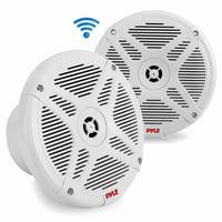 Pyle PLMRF65MW - Dual 6.5 Waterproof-Rated Bluetooth Marine Speakers, 2-Way Coaxial Full Range Amplified Speaker System with Wireless RF Streaming (600 Watt)