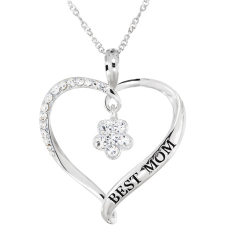 Swarovski Crystal Sterling Silver Best Mom Heart Pendant (Best Way To Clean Sterling Silver Jewelry)