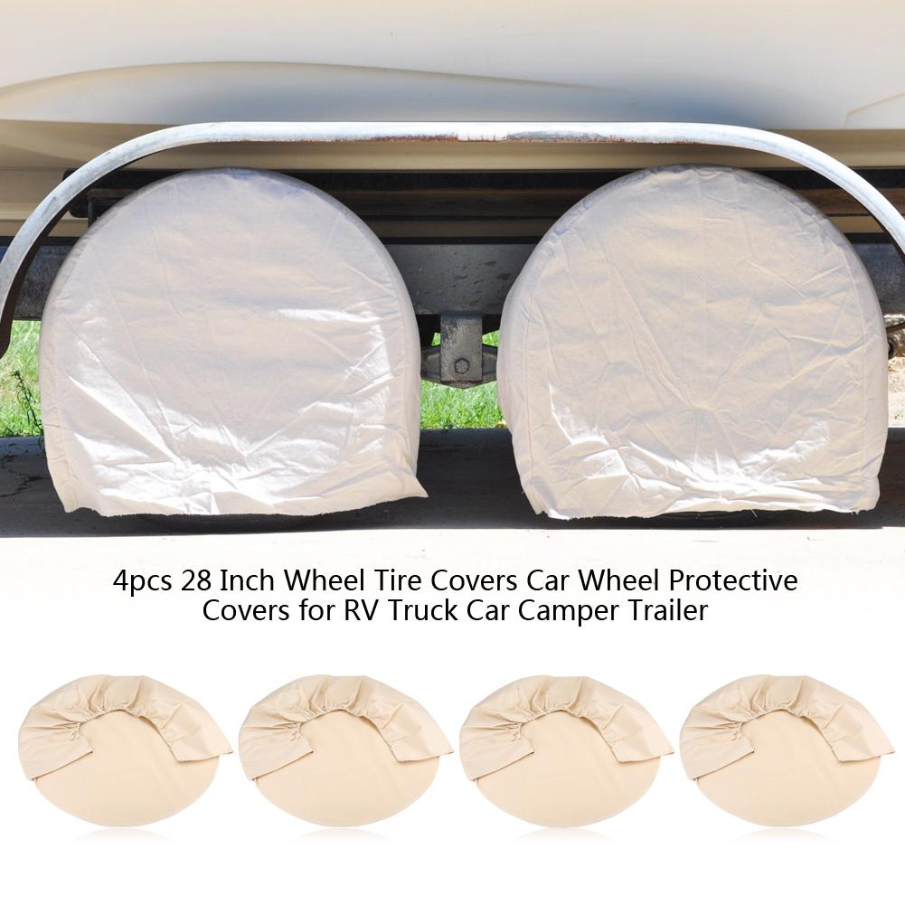 Camper Wheel Cover Trailer Wheel Protector 30in to 33in Tires Dumble White Dual Axle RV Trailer Wheel Covers 1pk
