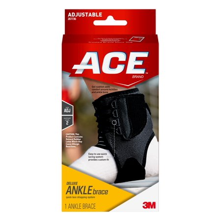 ACE Brand Deluxe Ankle Brace, Black, Adjustable, 1/Pack Deluxe Ankle Support