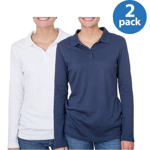 George Juniors School Uniform Long Sleeve Polo 2 Pack Value Bundle