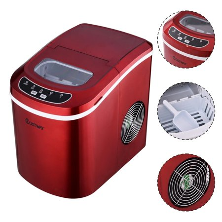 Goplus Red Portable Compact Electric Ice Maker Machine Mini Cube