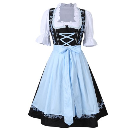 Women's 3 Pieces Oktoberfest Costumes Maid Fancy Dress Bavarian German Beer Costume