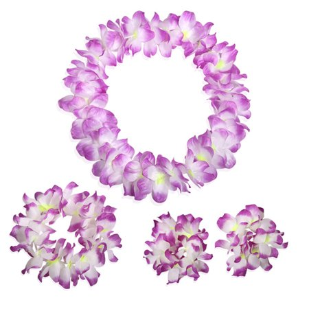 Pretty Hawaii Wreath Set Bracelets Neck Ring Garland Dancing Props Hanging Pendant Decoration 4PCS/Set](Hawiian Garland)