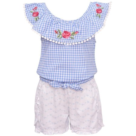 My Destiny Girls Blue Checkered Rose Embroidery 2 Pc Shorts Outfit (Pc Powder Checker)