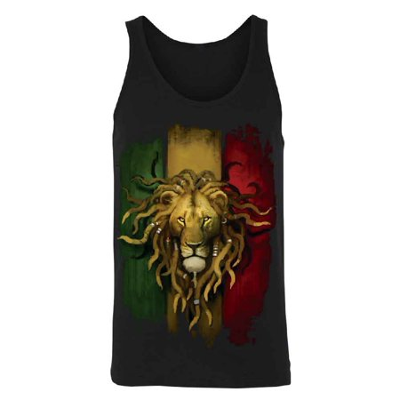 Rasta Lion Rastafarian Haile Selassie Men's Tank Top Shirts Black X-Large